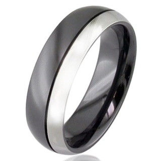 Dome Profile Two Tone Zirconium Wedding Ring