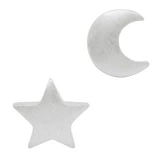 Star & Moon Silver Plated Stud Earrings