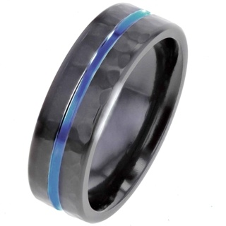 Hammered Black Zirconium Ring with Blue Anodised Centre