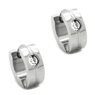 Mini Stainless Steel Huggie Earrings with Cubic Zirconia Crystals