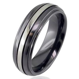 Dome Profile Two Tone Zirconium Wedding Ring