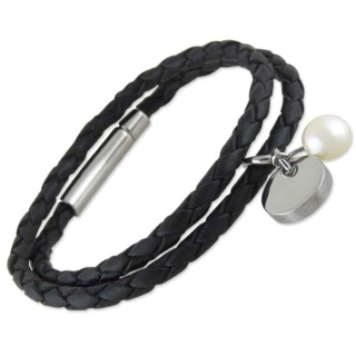 Vicenza Leather Pearl Bracelet