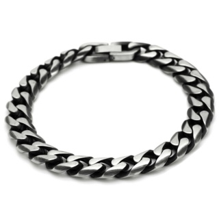 Oxidised Stainless Steel Curb Chain Bracelet