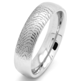 Customised Fingerprint Polished Titanium ring