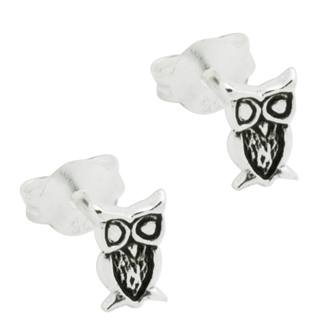 e9b819cc6 Silver Polished Owl Stud Earrings | Gold & Silver Earrings & Cuffs ...