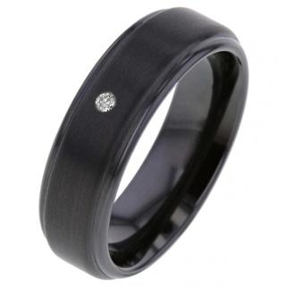 Black Zirconium Blue Diamond Ring