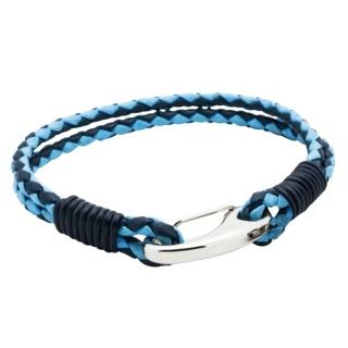 Two Tone Blue Woven Leather Bracelet