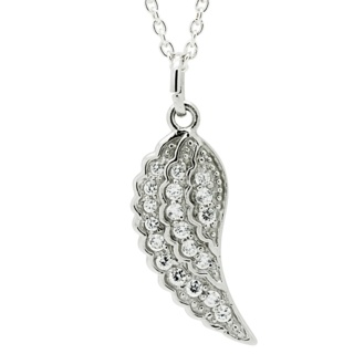 Silver Crystal Angel Wing Pendant