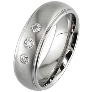 Dome Profile Two Tone Diamond Titanium Wedding Ring