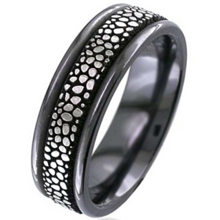 Flat Profile Zirconium Ring with a Stingray Design