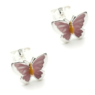 Silver & Enamel Butterfly Earrings