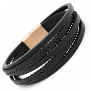 Five Thread Black Leather Bracelet