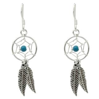 925 Silver Turquoise Dreamcatcher Drop Earrings