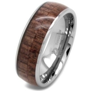 Tungsten carbide Ring with Wood Inlay