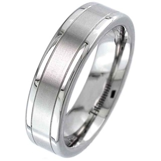 Flat Profile Titanium Ring with a Two Tone Finish