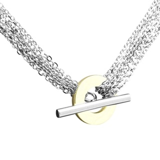 Gold Steel T-bar Chain Necklace