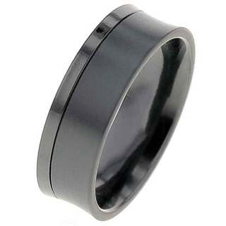 Concave Two Tone Zirconium Ring