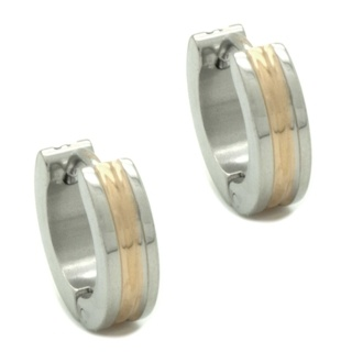 Grooved Stainless Steel & Gold Huggie Earrings