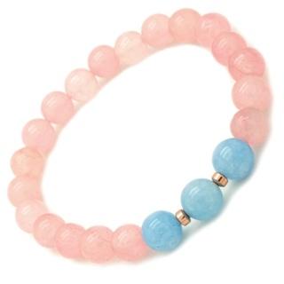 Rose Quartz & Blue Chalcedony Bracelet