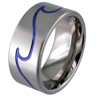 Flat Profile Zirconium Wedding Ring with Anodised Blue Wave