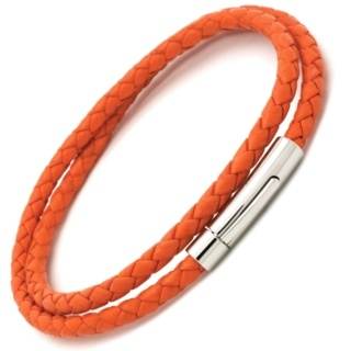 Woven Orange Leather Double Wrap Bracelet