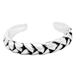 Polished Braided 925 Silver Toe Ring