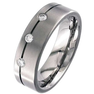 Flat Profile & Diamond Set Titanium Wedding Ring
