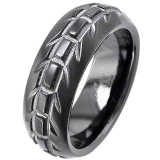 Dome Profile Black Zirconium Wedding Ring with Tyre Tread Design