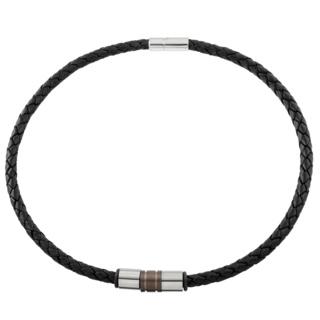 Woven Black Leather Necklace with Titanium Bead Trio
