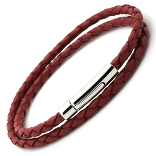 Woven Double Wrap Red Leather Bracelet