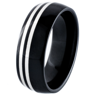 Black Ceramic Zirconia Dome Profile Ring with Silver Inlays