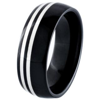 Black Ceramic Zirconia Dome Profile Ring with Silver Inlays