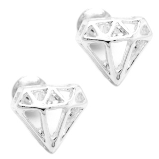Silver Plated Diamond Stud Earrings