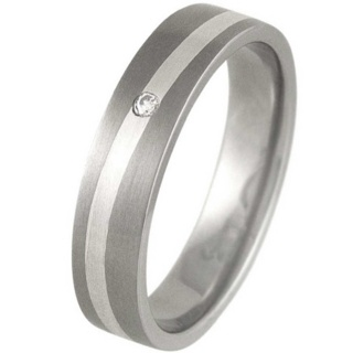 Swell Silver & Titanium Satin Diamond Ring