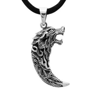 925 Silver Celtic Wolf Tooth Pendant