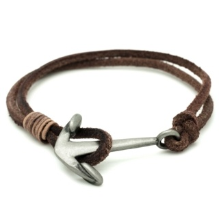 Soft Brown Leather Anchor Bracelet