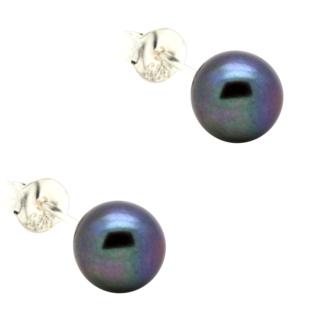 Peacock Pearl 6mm Silver Stud Earrings