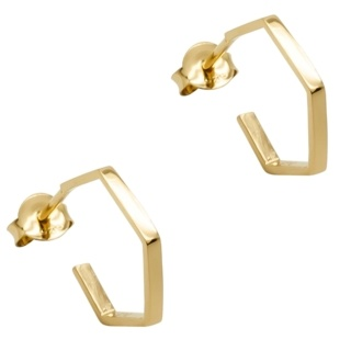 Gold Plated Silver Hexagonal Earrings