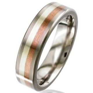 Flat Profile Gold Inlaid Titanium Wedding Ring
