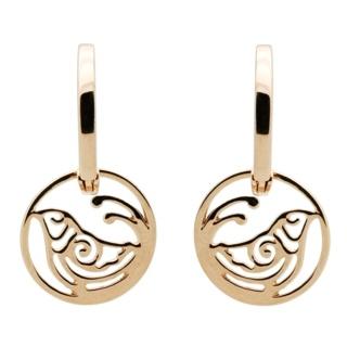 Rose Gold Hoop with Bird Drop Earrings