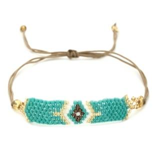 Turquoise & Gold Mosaic Beaded Bracelet