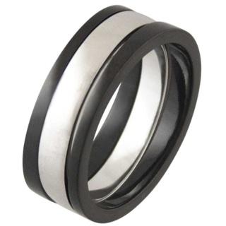 Praise Black Titanium & Silver Ring