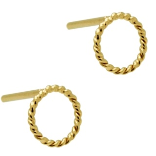 Gold Plated Silver Circle Stud Earrings