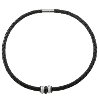 Woven Black Leather Necklace with Triple Titanium Beads