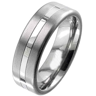 Two Tone Titanium Ring with a Flat Profile