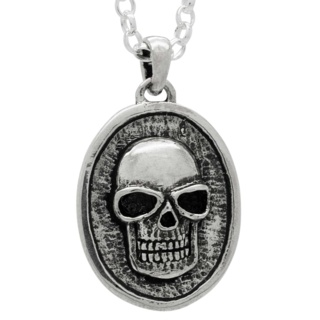 Silver Skull Disc Necklace