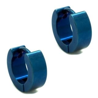 Midi Blue Stainless Steel Huggie Earrings