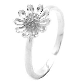 Silver Adjustable Flower Ring