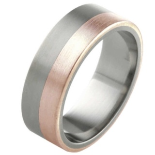 6mm Titanium Ring with Rose Gold Inlay