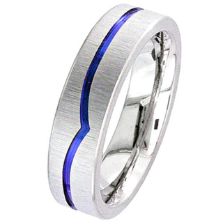 Flat Profile Zirconium Wedding Ring with Anodised Wave